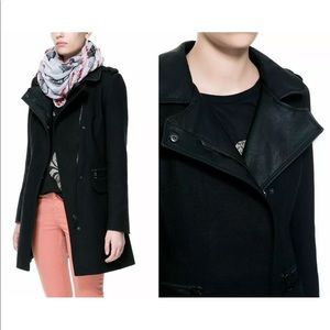 ZARA Combined Faux Leather Accent Motorcycle Coat